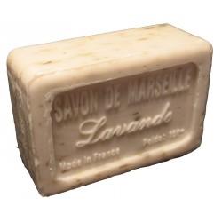 Savon de Marseille parfum Lavande avec morceaux de fleurs