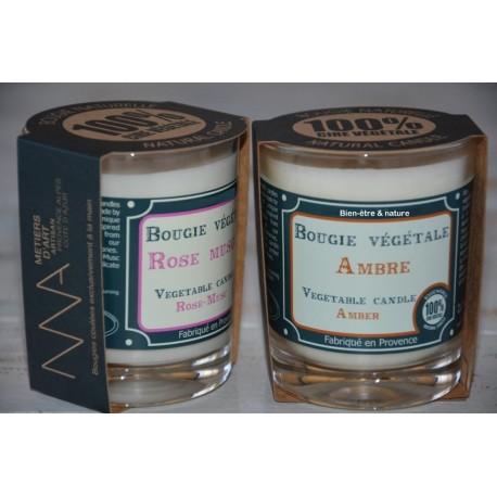 Bougie parfumée en cire végétale naturelle coulée à la main