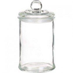 Bocal en verre forme bonbonnière avec couvercle en aluminium argenté