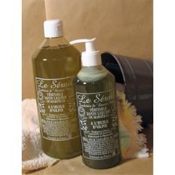 Savon de Marseille liquide Végétal Olive parfumé aux huiles essentielles de Lavandin flacon 1 Litre