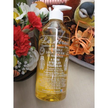 Savon liquide de Marseille naturel Parfumé à l'huile essentielle de Lavandin Flacon + Pompe 500 ml
