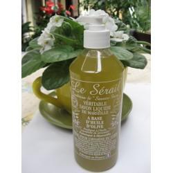 Savon de Marseille liquide Végétal Olive parfumé aux huiles essentielles de Lavandin flacon pompe 500 ml