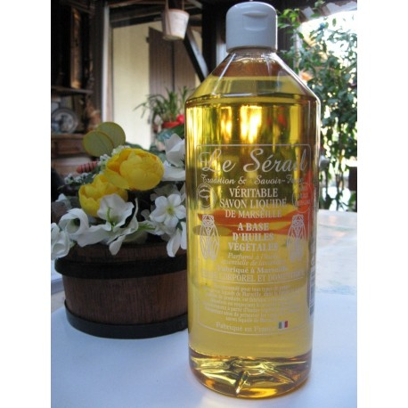 Savon liquide de Marseille naturel 1 litre fabriqué à l'ancienne au chaudron dans la Cité Phocéenne