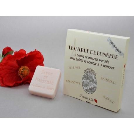 Savon de Marseille 4x50 gr emballé dans magnifique boîte Le carré du Bonheur